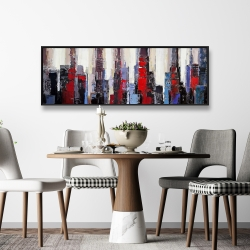 Framed 16 x 48 - Abstract red and blue buildings