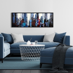Framed 16 x 48 - Abstract blue city
