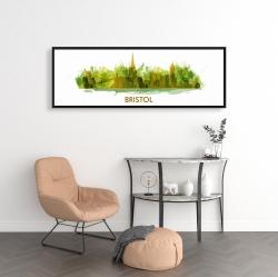Framed 16 x 48 - Paint splash silhouette of bristol