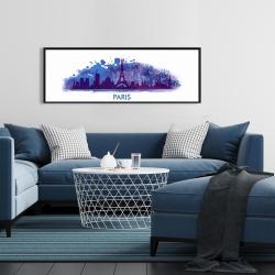 Framed 16 x 48 - Paint splash silhouette of paris
