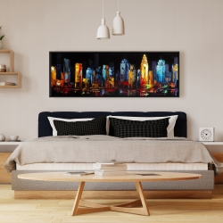 Framed 16 x 48 - Colorful abstract cityscape on a dark background