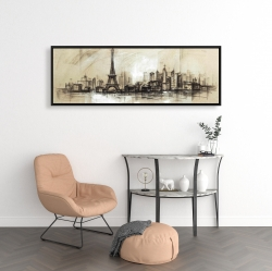 Framed 16 x 48 - Eiffel tower sketch