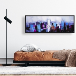 Framed 16 x 48 - Abstract blue & purple city