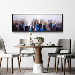 Framed 16 x 48 - Abstract cold city