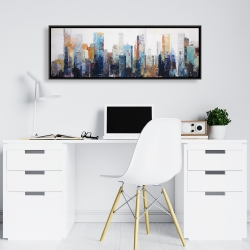 Framed 16 x 48 - Texturized abstract city
