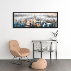 Framed 16 x 48 - Cityscape of new york with the chrysler building