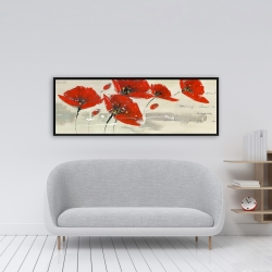 Framed 16 x 48 - Abstract red flowers in the wind