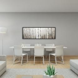 Framed 16 x 48 - White birches on gray background