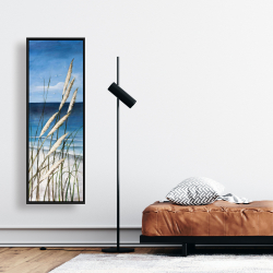 Framed 16 x 48 - Wild herbs in the wind on at the beach