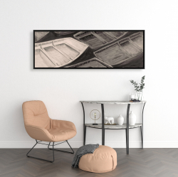 Framed 16 x 48 - Small canoes of style sepia