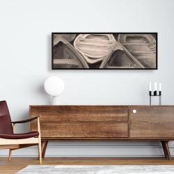 Framed 16 x 48 - Sepia canoes