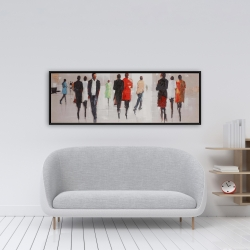 Framed 16 x 48 -  silhouettes in the street