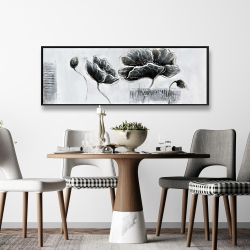 Framed 16 x 48 - Industrial style grayscale flowers