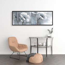 Framed 16 x 48 - Peaceful black & white flowers