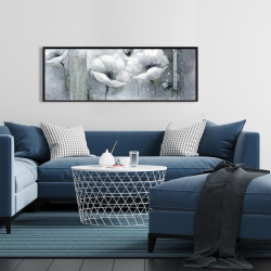 Framed 16 x 48 - Grayscale flowers