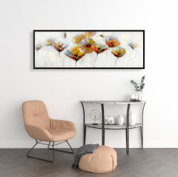 Framed 16 x 48 - Color dotted flowers