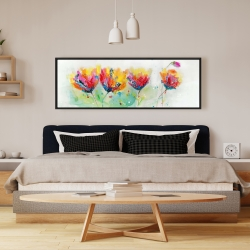 Framed 16 x 48 - Four colorful flowers