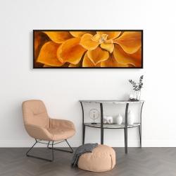 Framed 16 x 48 - Orange flower closeup