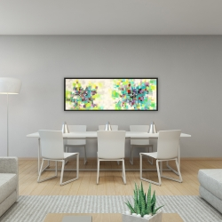 Framed 16 x 48 - Abstract squares flowers