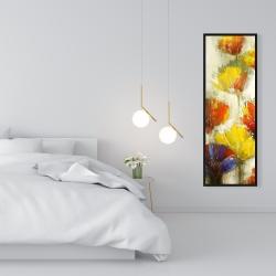 Framed 16 x 48 - Modern yellow flowers