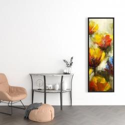 Framed 16 x 48 - Texturized yellow flowers