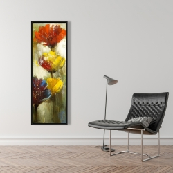 Framed 16 x 48 - Orange and yellow flowers