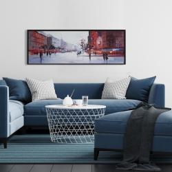 Framed 16 x 48 - Black and red street scene