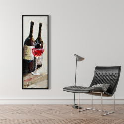 Framed 16 x 48 - Two bottles with a glass of wine