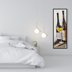 Framed 16 x 48 - Two bottles with a glass of white wine