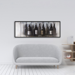 Framed 16 x 48 - Bottles of wine with wood finish