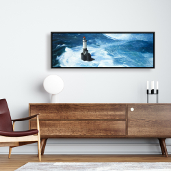 Framed 16 x 48 - Unleashed waves on a lighthouse