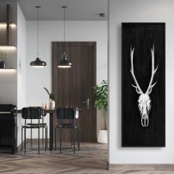 Framed 16 x 48 - Deer skull on black background