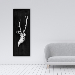 Framed 16 x 48 - Deer skull in the dark
