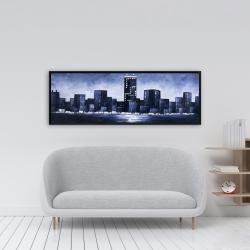 Framed 16 x 48 - Dark blue cityscape