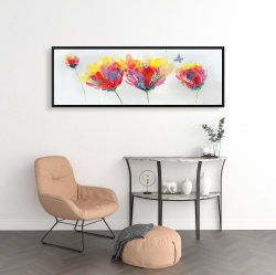 Framed 16 x 48 - Colorful flowers with a butterfly