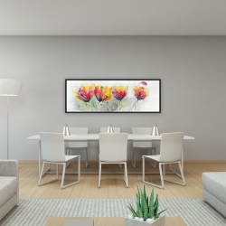 Framed 16 x 48 - Four colored flowers on gray background