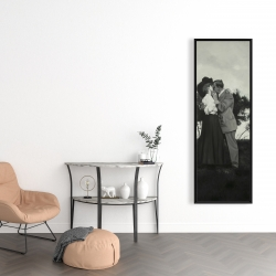 Framed 16 x 48 - Vintage couple kissing