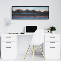 Framed 16 x 48 - Mountains and calm lake