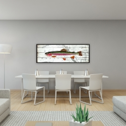Framed 16 x 48 - Trout on a world map
