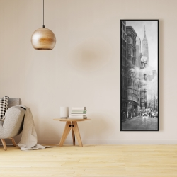 Framed 16 x 48 - Morning in the streets of new-york city monochrome