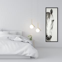 Framed 16 x 48 - Black & white horse face