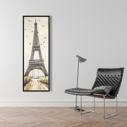 Framed 16 x 48 - Eiffel tower with flying birds
