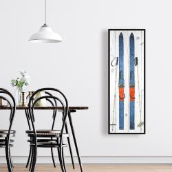 Framed 16 x 48 - Vintage blue ski