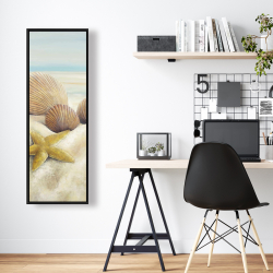 Framed 16 x 48 - Starfish and seashells view on the beach