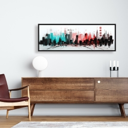 Framed 16 x 48 - Cityscape with rose gold colors