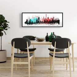 Framed 16 x 48 - Colorful city with rose gold lines