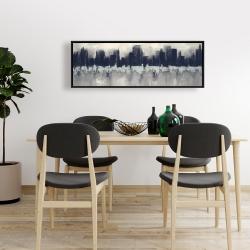 Framed 16 x 48 - City by sponge technique