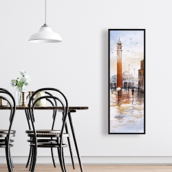 Framed 16 x 48 - City sketch with a tower