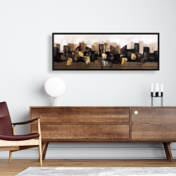 Framed 16 x 48 - Brown abstract cityscape