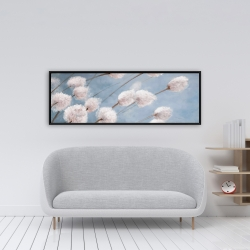 Framed 16 x 48 - Delicate cotton flowers
